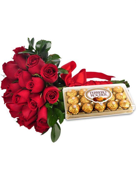 Buquê com 18 Rosas + Ferrero Rocher
