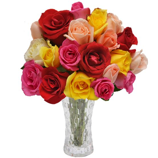 vaso com 18 rosas coloridas